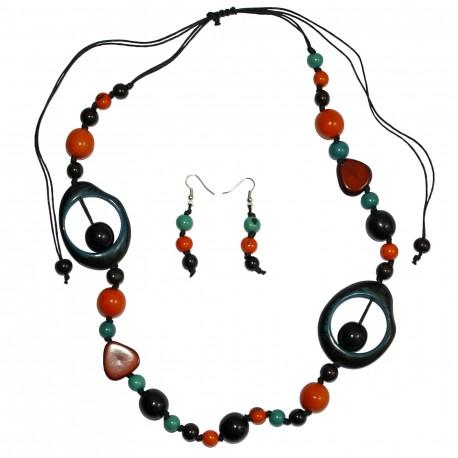 Ensemble collier + B. d'oreilles Ivoire Végétal